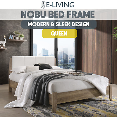 AU315 • Buy Nobu Wooden Bed Frame With Leather Headboard King Single Queen Double Mattress