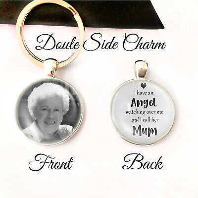 £6.48 • Buy Personalised Double Sided Keyring Memory Bereavement Mum Mom Mother Angel Gifts