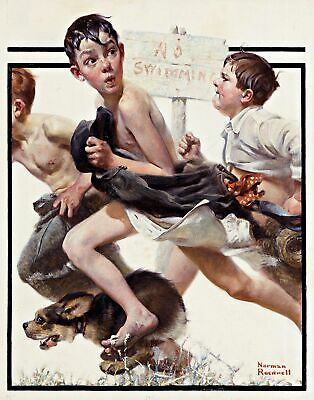$ CDN63.76 • Buy No Swimming By American Artist Norman Rockwell Fine Art Repro On Canvas Or Paper