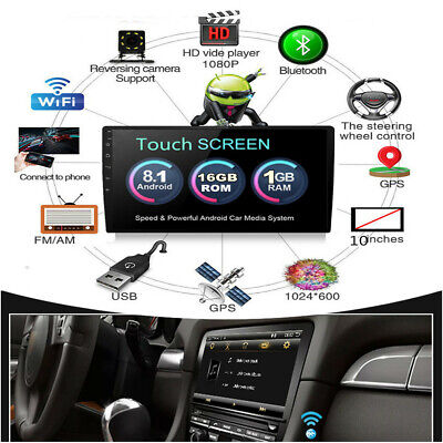 $ CDN182.50 • Buy 1 Din 1080P Touch Screen Android 8.1 Quad-Core Stereo Radio GPS Wifi Mirror Link