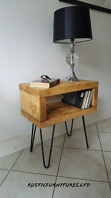 Industrial Hairpin Legs Bedside Table/Side Table/Lamp Table/Solid Pine Wood • 58.99£
