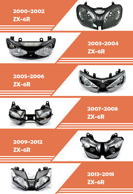 $79 • Buy Assembly Front Headlight HeadLamp Fit For Kawasaki 2000-2018 ZX6R ZX600 ZX636