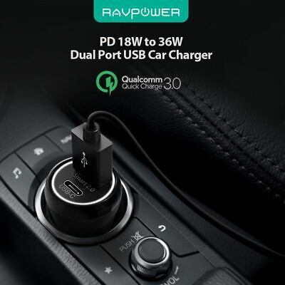 AU28.47 • Buy RAVPower PD 18W 36W Total Output Car Charger Quick Charging (RP-PC091)