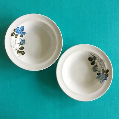 Two Vintage Barratts  Delphatic White  Shallow Dessert Bowls; Blue Roses • 6£