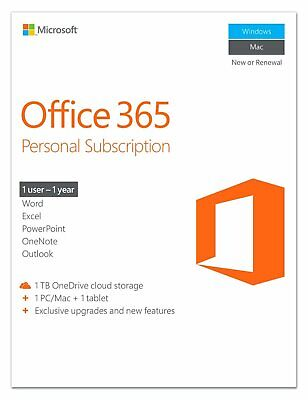 AU171.76 • Buy Microsoft Office 365 Personal 1 Year Subscription For 1 Device (IL/PL1-3442-P...