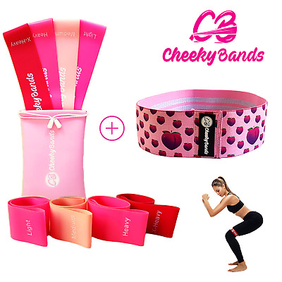 AU19.95 • Buy Resistance Booty Loop Bands Set Of 4 Plus Fabric Hip Band Gym Exercise Guide Bag