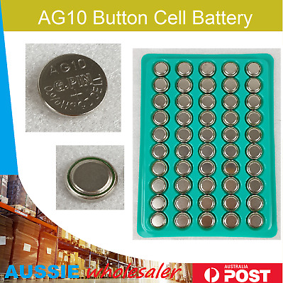 AU9 • Buy 50PCS AG10 Alkaline Cell Battery Batteries LR1130 LR54 L1131 SR1130