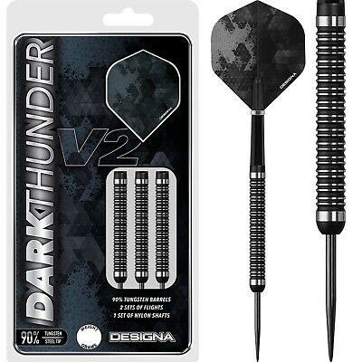 Designa Dark Thunder V2 Darts Set 20g 22g 24g 26g 28g 30g Grams 90% Tungsten • 24£