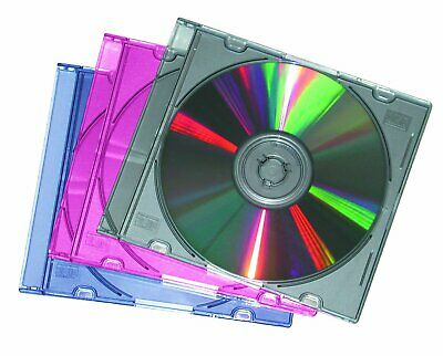 25 X Slimline Single CD DVD Jewel Cases Multi Coloured Tray 5.2mm UK STOCK • 7.50£