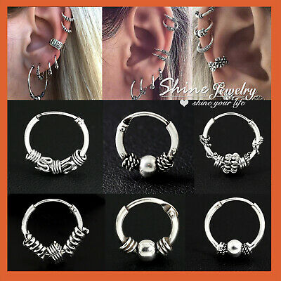 AU6.43 • Buy 925 Sterling Silver Solid Ear Cartilage Ring Piercing Small Hoop Sleeper Earring