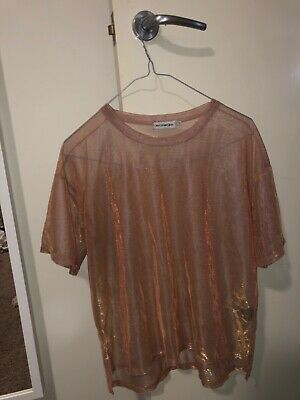 AU10 • Buy Urban Outfitters Sheer Iridescent Shirt Flowy Pink (s)