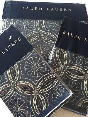 Ralph Lauren Artisan Loft Moore Blue Cotton Duvet Cover Set King Luxury • 399.99£