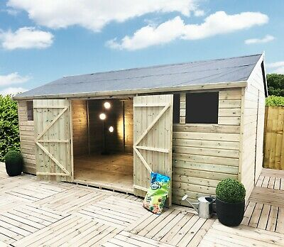 16x10 Pressure Treated Reverse Apex Tongue And Groove Workshop - 4 Windows • 2,300£