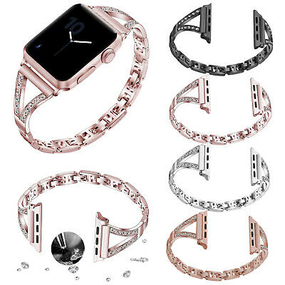 $ CDN17.57 • Buy Bling Metal Bracelet For Apple Watch Series 5 4 3 2 1 Band Bangle Crystals Strap