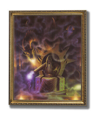£46.75 • Buy Dragon Fire Medieval Wizard # 4 Wall Picture Gold Framed Art Print