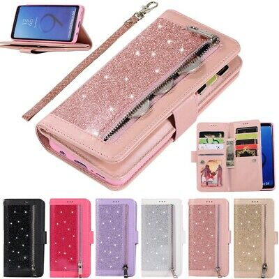 $ CDN3.89 • Buy For Samsung S10e S9+ S8 S7 Bling Zipper Leather Wallet 9 Cards Stand Case Cover
