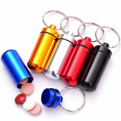 $2.79 • Buy 5 PCS Waterproof Aluminum Pill Box Case Bottle Drug Holder Keychain Container