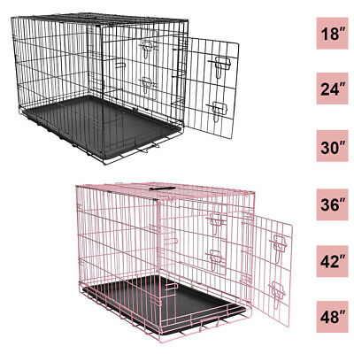 £29.99 • Buy Dog Cage Pet Puppy Crate Carrier Home Folding Door Training Kennel S M L XL XXL