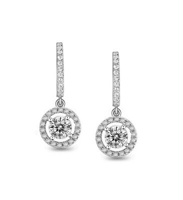 £16 • Buy 2.5Ct Signity Diamond Drop Earrings Crafted In Solid Sterling Silver