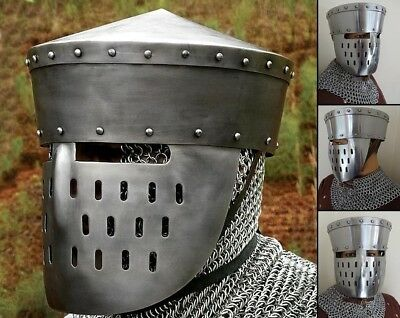 Kalota Helmet With Face Guard. Medieval Head Armour Re-enactment Stage & LARP • 99.50£