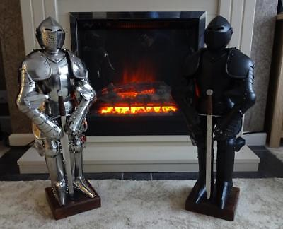 Miniature English Medieval Suit Of Armour On Stand With Sword In Black Or Silver • 159£