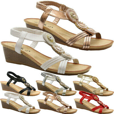 £11.95 • Buy Womens Flat Diamante Peep Toe Wedge Ankle Strap Shoes Ladies Summer Sandals Size