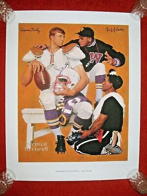 $ CDN510.35 • Buy THE RECRUIT NORMAN ROCKWELL SIGNED MODEL PRINT Poster Football Ncaa Coach Nfl