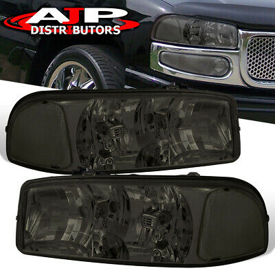 $64.99 • Buy Smoked Lens Replacement Headlights Lamps Pair For 2000-2006 GMC Sierra Yukon XL
