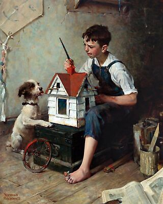 $ CDN63.43 • Buy Painting The Little House By Norman Rockwell. Children Repro On Canvas Or Paper