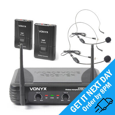 Vonyx STWM712H Wireless Microphone 2-Channel VHF Dual Headset Radio Mic System • 53.99£