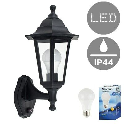 Traditional Outdoor LED Wall Lantern PIR Motion Sensor + 6W GLS Light Bulb IP44 • 25.99£