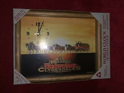 $ CDN98 • Buy New In Box 1995 Framed World Famous Budweiser Clydesdale Beer Clock Americana