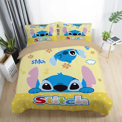$26.59 • Buy Lilo&Stitch Bedding Sets Queen Twin Full Size Comforter Cover Set Pillow Cases