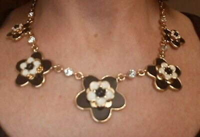$ CDN99.99 • Buy Kate Spade NEW YORK Flower Necklace Black White Gold Tone Statement