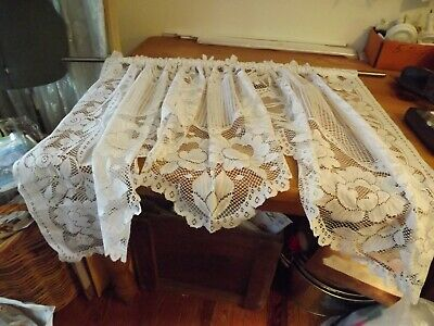 White Lace FESTOON SWAG CURTAIN  71Wx36   • 8.90£