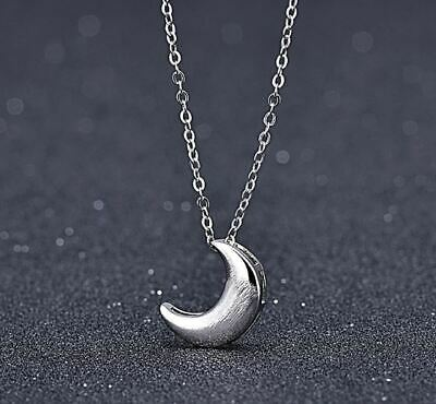 Moon Charm Pendant 925 Sterling Silver Chain Necklace Womens Jewellery Gifts UK • 3.29£
