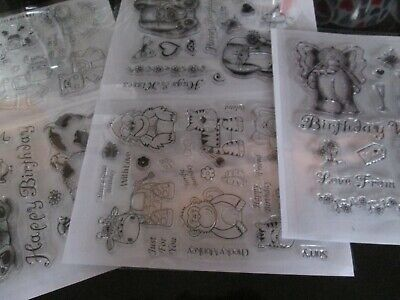 VARIOUS SETS  ANIMAL  Front & Back Clear Cling Stamp Set On A5 Sheets FREE POST • 4.25£