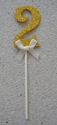 AU4.99 • Buy 2nd Birthday Gold Glitter Number Two Cake Topper With Bow For Birthday Cake