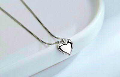 £3.29 • Buy Smooth Heart Pendant 925 Sterling Silver Jewellery Necklace Chain Women Gifts UK