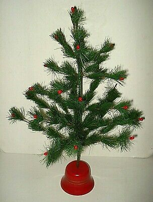 $ CDN79.99 • Buy Vintage 21  Green Faux Feather CHRISTMAS TREE 25 Branch Red Berries Plastic Base