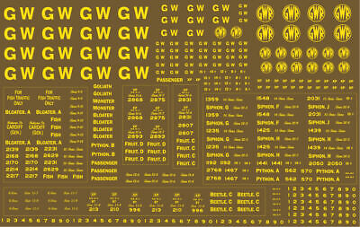 Modelmaster GW302 4mm (00) G.W.R. 1923-1948 Lettering & Numbering YELLOW   • 9.95£