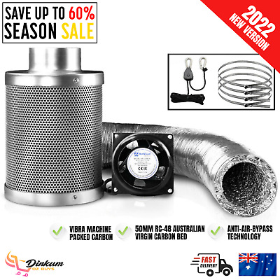 AU198.77 • Buy Hydroponics Grow Tent Ventilation Kit Vent Fan Carbon Filter Duct 6 Inch 4 Inch