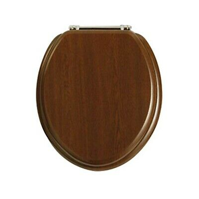 Heritage TSWNT101 Wood Toilet Seat With Standard CP Chrome Bar Hinges In Walnut • 71.95£