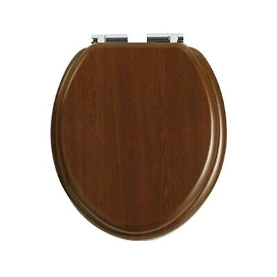 Heritage Wood Toilet Seat With Soft Close Chrome Hinges In Walnut TSWAL101SC • 96.95£