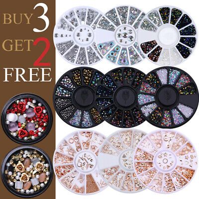 Nail Rhinestones Glitters Beads Studs Crafts Gems Stones 3D Nail Art Decoration • 2.99£