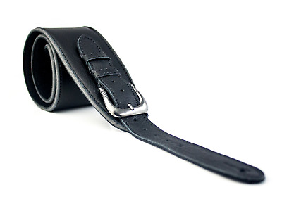 $ CDN46.34 • Buy UK Made Black Vintage Extra Wide Soft Real Leather Guitar Strap With Buckle