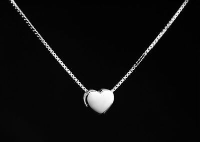 £3.19 • Buy Drawing Heart Pendant Necklace 925 Sterling Silver Chain Womens Jewellery Gifts