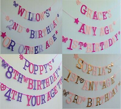 £5.95 • Buy PERSONALISED GIRLS Birthday Banner BUNTING Purple Pinks Lilac ANY AGE With NAME