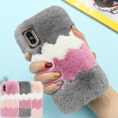 Bling Diamond Plush Comfy Faux Fur Fluffy Case Cover For IPhone XS XR 12 6S 7 8 • 4.99£