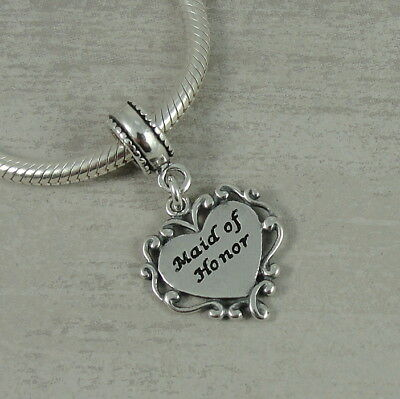 $19.95 • Buy 925 Sterling Silver Maid Of Honor Dangle Bead Charm - Fits European Bracelets